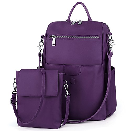 UTO Damen Backpack Purse Oxford wasserdicht Kleidung Nylon Frau Rucksack Detachable Crossbody Schultertasche lila