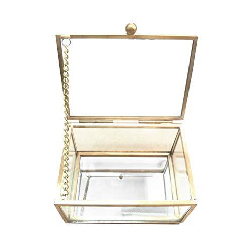 LIOOBO Geometrisches Glas Kasten Schmuckschatulle Box Retro Dekoration Aufbewahrung für Schmuck Tisch Zimmer
