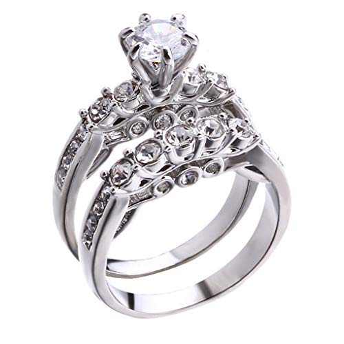 CanVivi Par de anillos de pareja de diamantes de imitación, corte princesa, circonita cúbica, diamante simple, para amantes de la boda, un par de anillos