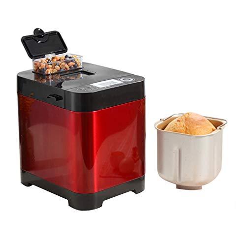 ZTGL Brotbackautomat mit Zutatenspender, Teigknetmaschine, 18 Voreingestellte Funktionen Brotbackmaschine, 2 Laibgrößen und 3 Farben, Rot
