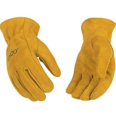 Kinco 50 Garden Gloves for Kids Golden Suede Cowhide Leather Gloves