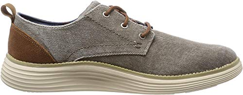 Skechers Men's Status 2.0 PEXTON Boat Shoes, Grey (Taupe Canvas TPE), 9 (43 EU)