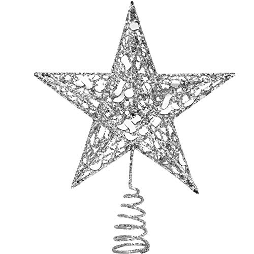 URATOT Glittered Christmas Tree Topper Metal Christmas Treetop Hallow Wire Star Topper for Christmas Home Decoration (8 inches, Silver)