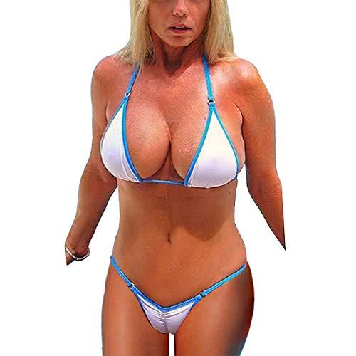 SHERRYLO Rosa/Weiß Scrunch Butt Bikini Damen Bademode (White, XL)