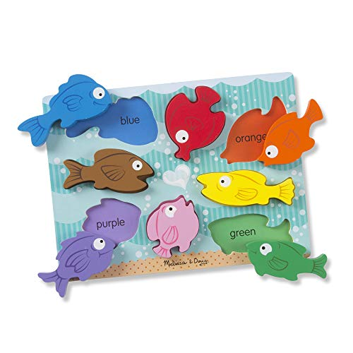 Melissa & Doug Colorful Fish Wooden Chunky Puzzle (8 Pieces), Great Gift for Girls and Boys - Best for 2, 3, and 4 Year Olds