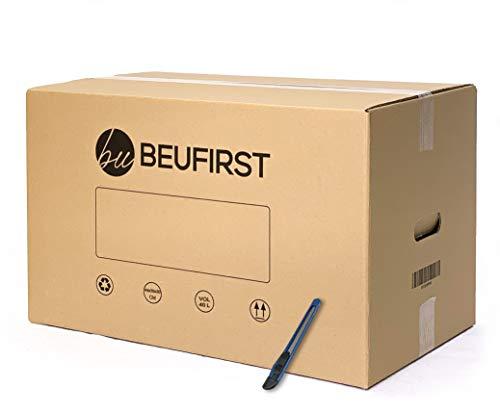 Beufirst Pack de 20 Cajas de Cartón con Asas 440x300x300mm, y Mini-cúter, Cajas para Mudanza, Envíos, Almacenaje y Transporte