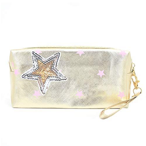 Jingyuu Shining Maquillage Sac carré de douche Trousse de toilette Sac à main pour cosmétique de stockage Pink Star 19 * 9cm
