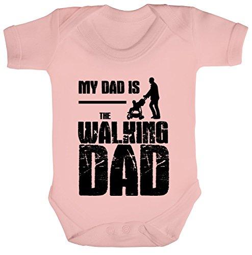ShirtStreet Vatertag Geschenkidee Strampler Bio Baumwoll Baby Body kurzarm My Dad Is The Walking Dad, Größe: 6-12 Monate,Powder Pink