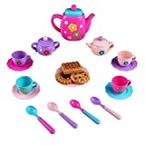 TONZE Jeu Imitation Cuisine Dinette Enfant Plastique Jouet Fille Garcon Service a Thé avec 19 Petite Accessoires Jeux Imitations Enfants pour 3 4 Ans