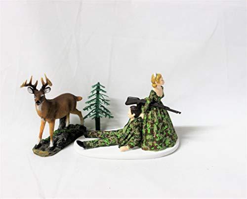Bride and Groom Camo Redneck Wedding Deer Hunter Hunting Cake Topper