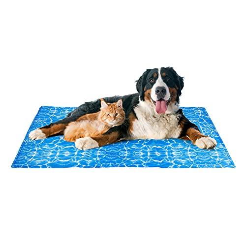 Alfombrilla de Refrigeración para Perros 120 X 70 cm, Alfombrilla Refrescante Perros Gatos Mascotas, Gel no Tóxico, Antirrayas y Antideslizante, Autorefrigerante, para Animales de Compañía de 30-50 kg