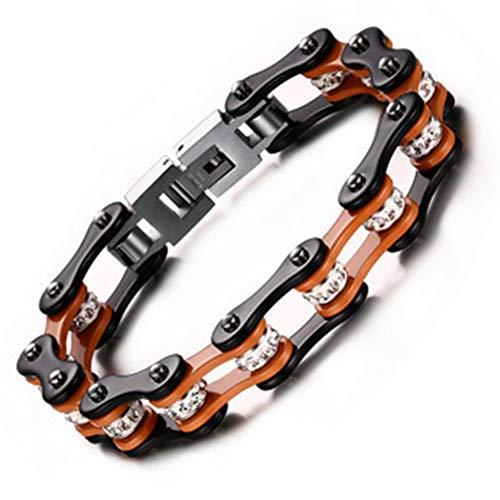 MIDSUNNY Vintage Elegant Gute Qualität Orange Schwarz Armbänder Titan Stahl Armband für Paare Schmuck Mode Wild Sport Handschlaufe Wasserdicht Armband Bike Chain