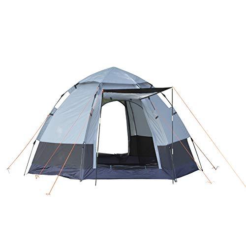 Outsunny Tente Pop up Montage instantané - Tente de Camping 3-4 pers. - 2 Grandes Portes - dim. 2,6L x 2,6l x 1,5H m Fibre Verre Polyester Oxford Noir Gris