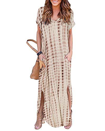 YOINS Sommerkleid Damen Lang Maxikleider für Damen Strandkleid Sexy Kleid Kurzarm Jerseykleider Strickkleider Rundhals mit Gürtel Langarm,EU44/L,Beige