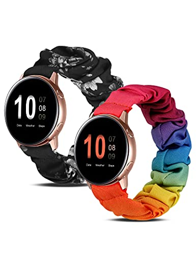 Wearlizer 2 Packs Compatible for Samsung Galaxy Watch Band Active 2 Scrunchie Soft Cloth 20mm Cute Printed Elastic Watch Bands Women Stretchy Bracelet Fabric Wristband Strap(Small/Large)