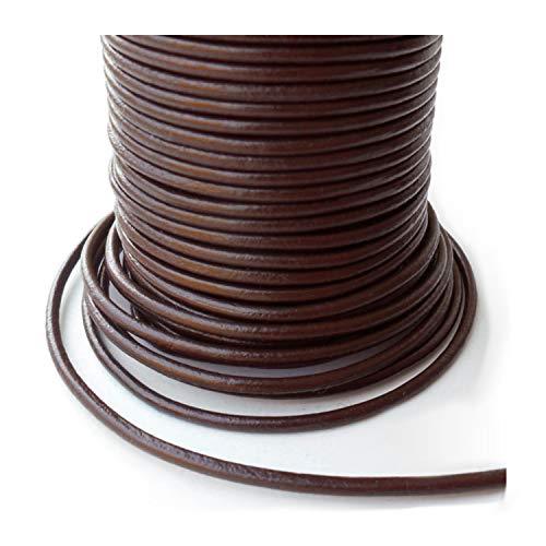 Auroris 25m Rollo Cinta de Piel, Redondo Diámetro 2,5mm, Color marrón