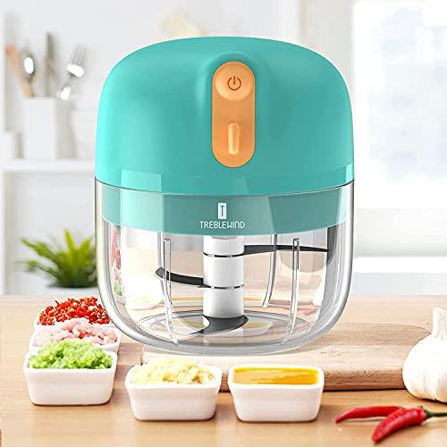 Wiederaufladbarer zerkleinerer küche elektrisch,250ml Kompakter Multi-Schredder (60 Watt)Küchenmaschine Mixer Knoblauchzerkleinerer für Gemüse, Babynahrung TREBLEWIND(Grün)