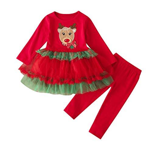Hui.Hui Ensemble Garçon Fille Bébé Santa Christmas Robe Imprimé Dessin Animé Haut Longues Manches Vêtements et Pantalons Tenues de Costume Hiver