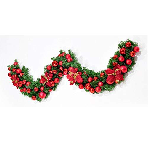 JRZSZMD Kerstkransen, creatieve rotan kunstmatige krans rode bal handgemaakte simulatie slinger kerstfeest deur muur opknoping decor