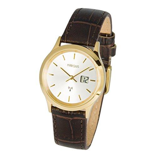 Elegante MARQUIS Damen Funkuhr Armbanduhr (Junghans-Uhrwerk) Edelstahlgehäuse, Braunes Lederarmband 964.2045