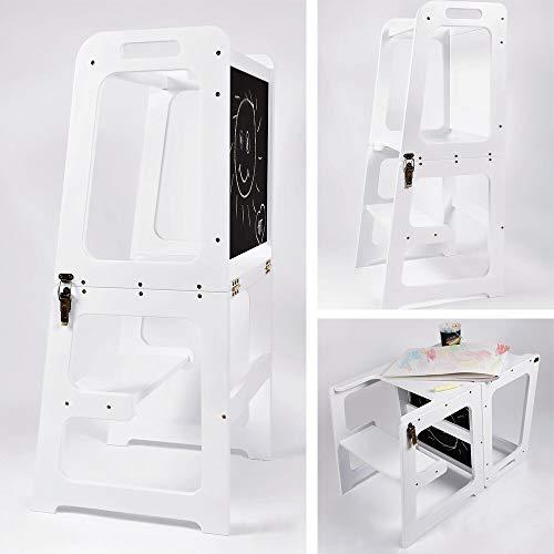 Montessori - Torre de aprendizaje para cocina 2 en 1, torre de aprendizaje para 1 año, mesa y silla con pizarra, ayudante de cocina plegable (blanco)