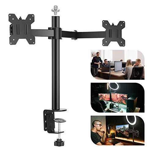 Neewer Stand da Tavolo per Doppio LCD Monitor Resistente con Braccio Regolabile, per 2 Schermi per Computer, Capacità di Carico di Braccio 10kg