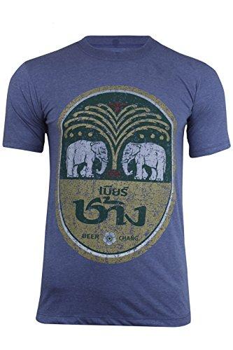 Camiseta de algodón de manga corta con diseño de cerveza Chang, con cuello redondo, hecha en Tailandia, Blue Marl, Large
