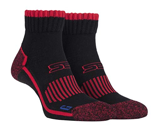 Storm Bloc - Hombre Cortos Tobilleros Calcetines Reforzados De Puntera y Talón | Calcetines Para Trabajo Trekking Deporte (43-46, negro rojo)