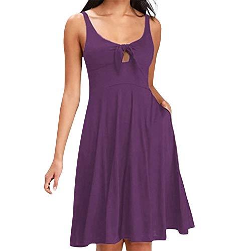 Fenverk Damen V Ausschnitt A-Linie Kleid Träger Rückenfreies Kleider Sommerkleider Strandkleider Knielang (Lila-N,M)(Lila-N,M)