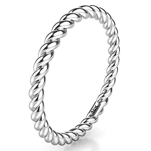 Sz 9.0 Solid 10K White Gold 2MM Eternity Rope Wedding covid 19 (Ring White Pitcher coronavirus)