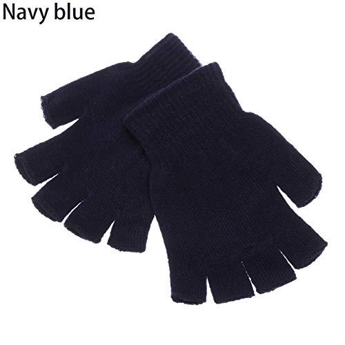 Mdsfe Unisex Winter Rippstrick Vollfingerhandschuhe Dickes Plüsch gefüttertes warmes Armband - Nave Blue