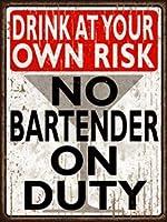 簡素な雑貨屋 No Bartender On Duty アメリカン 雑貨 ヴィンテージ風 メタルプレート ブリキ 看板 アンティーク レトロ
