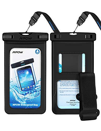Mpow, custodia impermeabile per cellulare, 2 pezzi, con cinturino IPX8, impermeabile, antipolvere, anti-neve, per iPhone 11/iPhone X/XR/XS/XS MAX/8/7/Galaxy S10/S9/S8/P30/P20/P10 fino a 6,5'