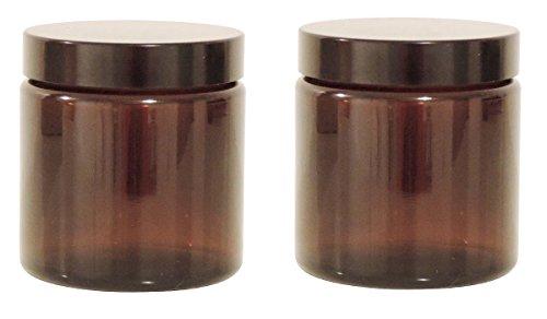 2 Glastiegel 120ml Cremetiegel aus Braunglas inkl. Etiketten