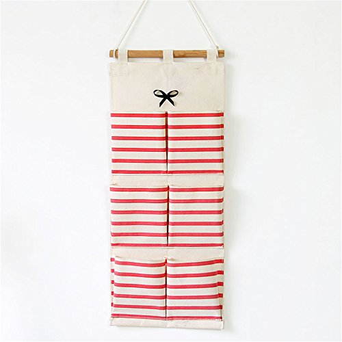 Qearly Naturel Housewares Sac De Rangement Suspendu Hanging Closet Organizer-Rouge