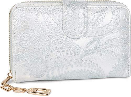 styleBREAKER portemonnee met Paisley-bloemstempel, rits rondom, portemonnee, dames 02040098, Farbe:Zilver
