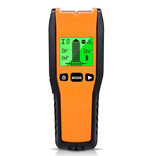 Stud Finder Wall Scanner - 5 in 1 Electronic Stud Sensor Beam Finders Wall Detector Center Finding with LCD Display for Wood AC Wire Metal Studs Joist Detection Orange BLACK