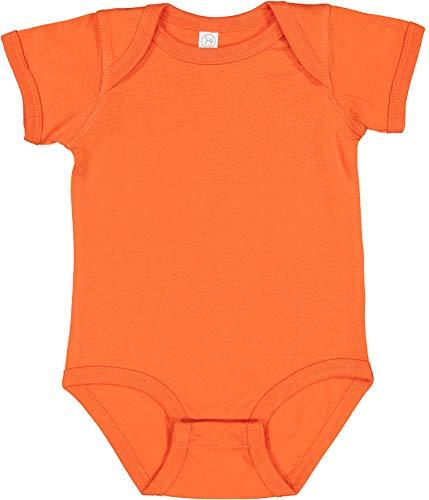 RABBIT SKINS, Baby Soft Fine Jersey Short Sleeve Bodysuit, Orange, 24 Months