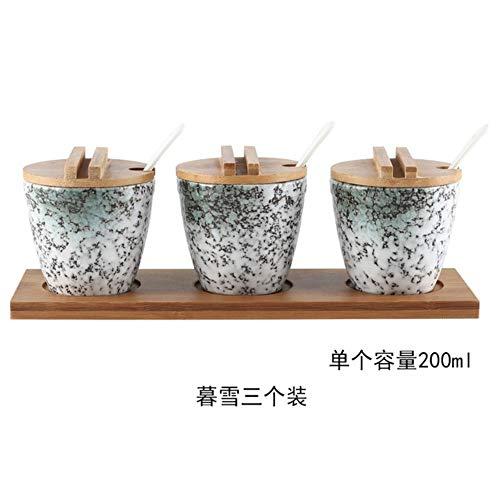 Japanse stijl Keramische Kruiden Jar Cruet Set Peper Zout Fles Container Opslag Specerijen Kruidenrekhouder met Lepeldeksels, B - 3-delige set