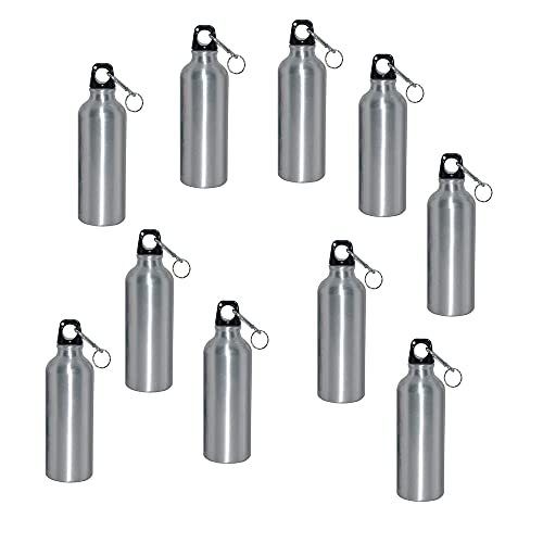 INTBUYING 10sets 600ml Sublimation Silver Aluminum Sport Water Bottle with Twist Cap and Carabiner DIY Heat Transfer Text, Logo, Gym Crafts Each with Individual Box