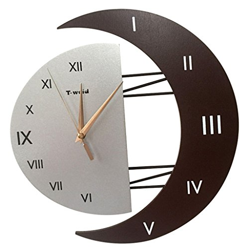horloge murale Redroom Mute Numéros Romains 14 Pouces Type de Lune Salon (Couleur : E, Taille : 14inch)