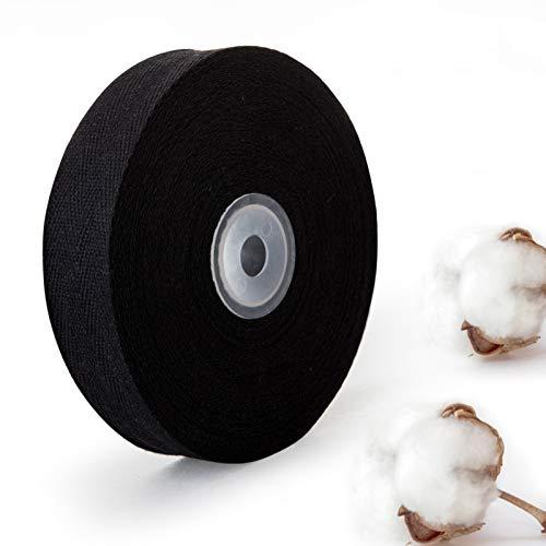 Naler 25mm Ruban en Coton pour Couture, Ruban à Chevron Noir, Sangle Ceinture Bande de Coton 15M pour Bricolage Artisanat Couture DIY