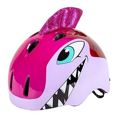 ENticerowts Casco de niños con forma de animal de dibujos animados, transpirable absorción de sudor ajustable PC Ciclismo, para deportes al aire libre rosa rojo