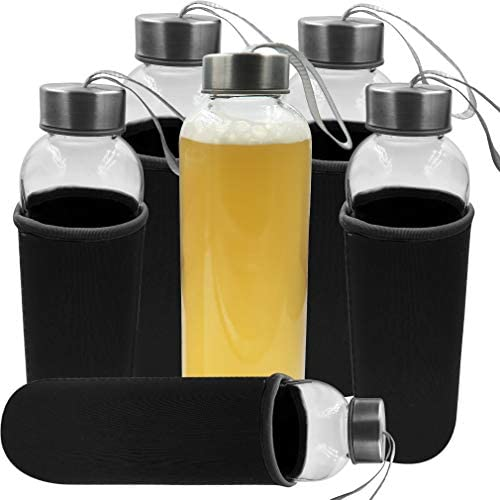 Evelots Glass Water Juice Bottle Sleeve 18 OZ Easy Carry Air Tight No Leak Set 6 product image