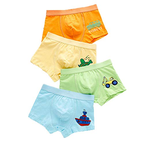4er Pack Jungen Boxer Slips Kinder Shorts Baumwolle Unterhose Cartoon Car Elefant Jahre 1-10