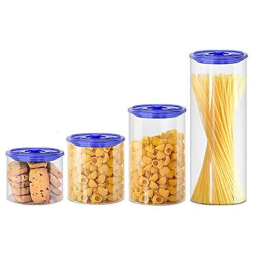 Schüttdosen Streudosen Manuelles Entlüftungsventil Staubdicht Einfach Zu Säubern Glas Milchpulver Snack Versiegelt Frischhaltetank 2 Farben 4 Größen (Color : Blue, Size : 560ML+700ML+1350ML+2300ML)