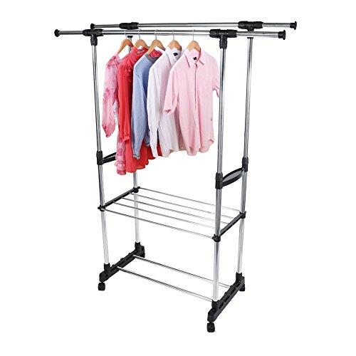AYNEFY Perchero doble extensible, perchero para ropa de acero inoxidable, con ruedas y dos zapateros, altura ajustable 80-147 cm