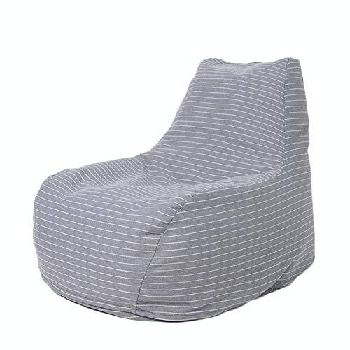 LDIW Moderno Puff de Salon, Cojines para Suelo Grandes Resistente al Agua Bean Bag Puf Gigante para Decoracion Habitacion para Niños y Adultos,Gray White Strip,EPP