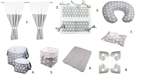 Vizaro - Pack Textil Ropa Habitación Bebé 13 artículos - 100% Algodón - Hecho UE, OekoTex - Lunares