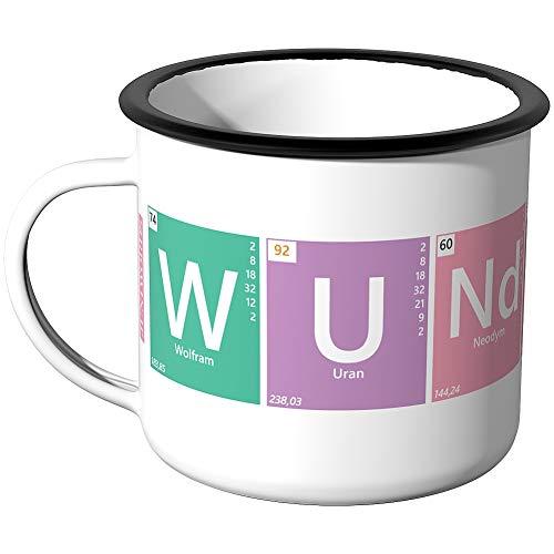 JUNIWORDS Emaille-Tasse, Periodensystem Wunderbar W U Nd Er B AR, Silberner Tassenrand